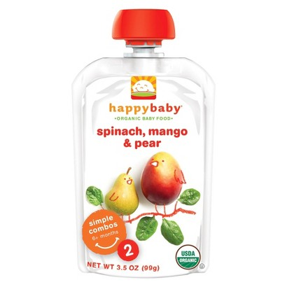 Happy Baby Organic Baby Food Stage 2 - Spinach, Mango & Pear (8 Pack)