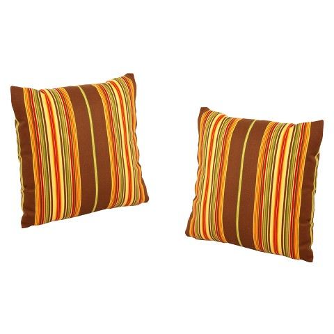 """Honeylane 2-Piece Outdoor Toss Pillow - Beige/Brown 18"""""""
