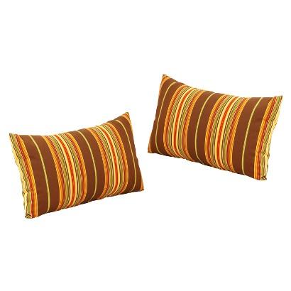 """Honeylane 2-Piece Outdoor Lumbar Pillow - Beige/Brown 24"""""""