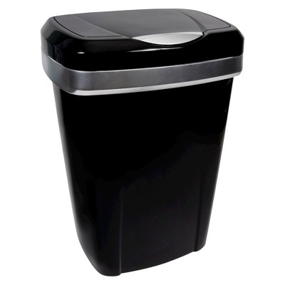 Hefty 12.25 Gal. Premium Touch Lid Waste Can - Black with Stainless Accents