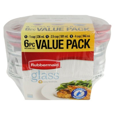 Rubbermaid Easy Find Lids Glass Food Storage Container Set, 6-piece