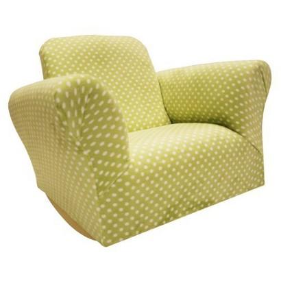 Komfy Kings Upholstered Kids Rocker Chair - Green Polka Dot product ...
