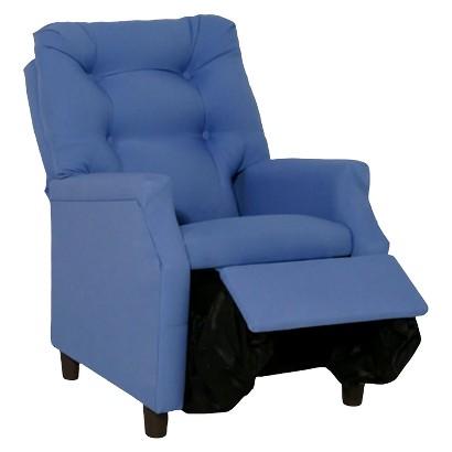 Komfy Kings Deluxe Upholstered Kids Recliner Chair - Blue
