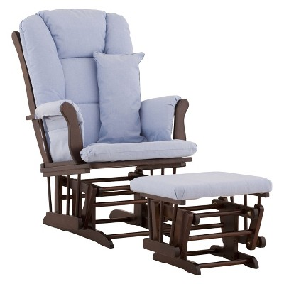 Stork Craft Tuscany Espresso Glider and Ottoman - Blue
