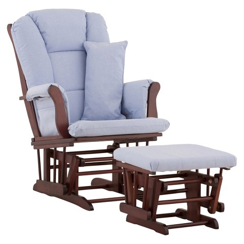 Stork Craft Custom Tuscany Glider and Ottoman - Cherry Finish/ Blue Cushion