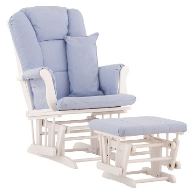 Stork Craft Tuscany White Glider and Ottoman - Blue