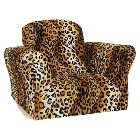 Upholstered Kids Leopard Rocker Chair