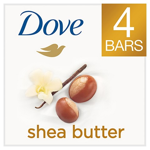 Dove Purely Pampering Shea Butter with Warm Vanilla Beauty Bar 4 oz, 4 Bar