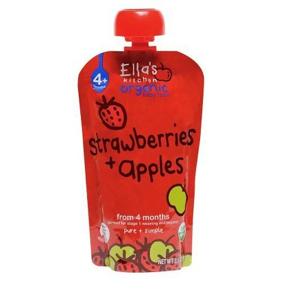 Ella's Kitchen Organic Pureed Baby Food Pouch - Stage 1 Apple Strawberry 3.5oz (7 pack)
