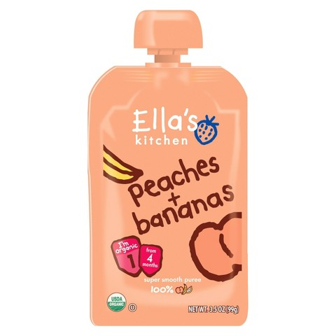 Ella's Kitchen Organic Pureed Baby Food Pouch - Stage 1 Peach Banana 3.5oz (7 pack)