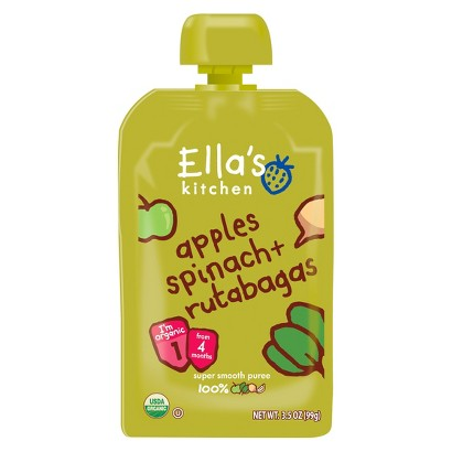 Ella's Kitchen Organic Pureed Baby Food Pouch - Stage 1 Apple Spinach Rutabaga 3.5oz (7 pack)