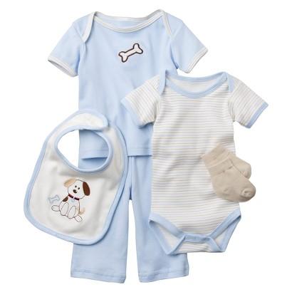 Hudson Baby™ Newborn Boys' 6 Piece Dog Mesh Bag Gift Set - Blue 0-3 M