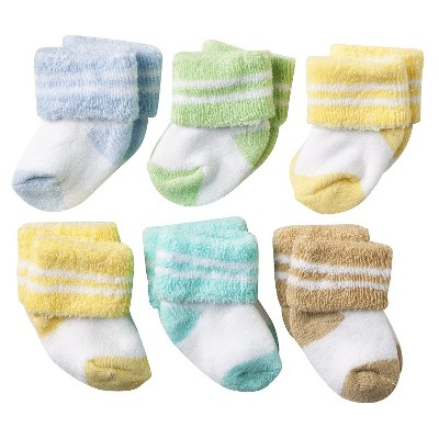 ECOM Luvable Friends Newborn 6 Pair Socks In Washbag - Yellow 0-3M