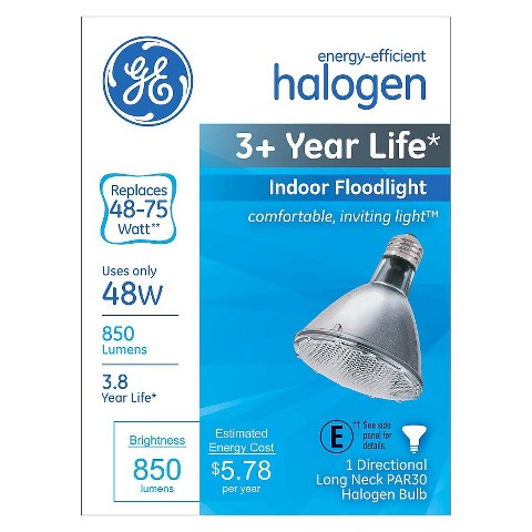 GE 65-Watt PAR30 Long Neck Halogen Light Bulb - Soft White