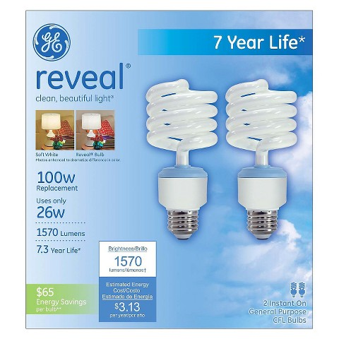 GE Reveal Spiral CFL Bulbs