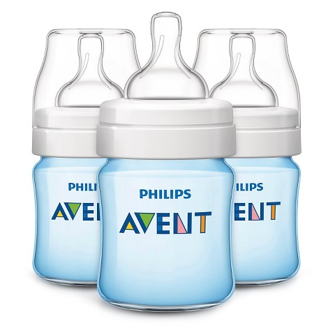 Philips Avent BPA Free Classic 9 Ounce Polypropylene Bottles, Blue, 3-Pack