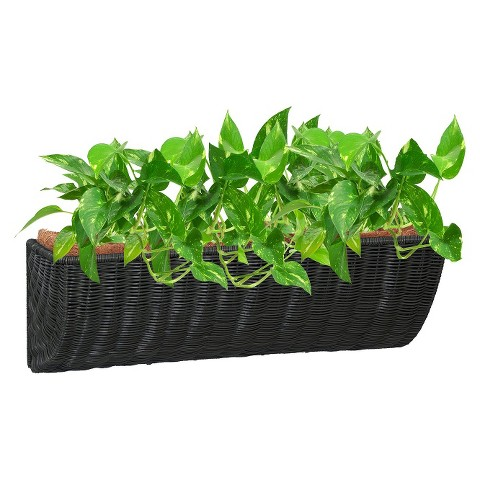 Resin Wicker Wall Basket Planter
