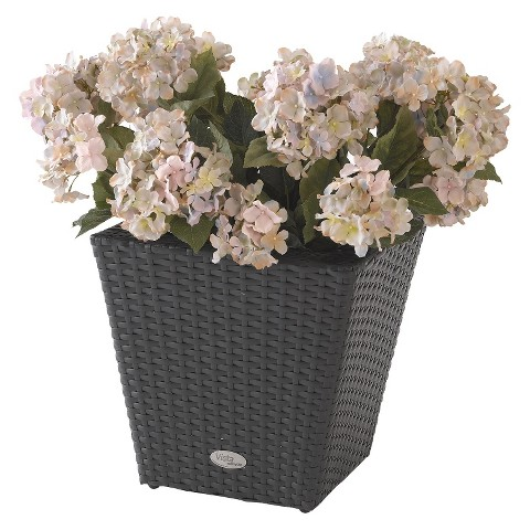 Vista Planter Resin Wicker Square - Black