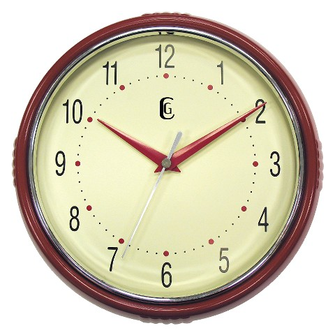 "Plastic Diner Wall Clock - Red (9.5"")"