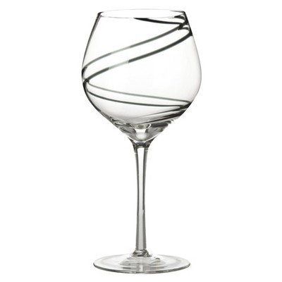 Luigi Bormioli Black Swirl Balloon Glass Set of 4 - 21-oz.