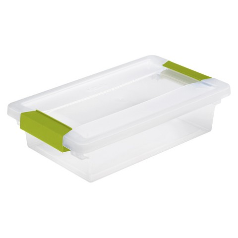 Sterilite® Storage Tote with Clips Set of 6 - Transparent with Green Latch Small