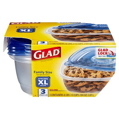 Glad Family Size Food Storage Containers 104 oz 3 ct
