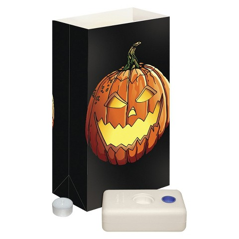 Candle Luminaria Kit - Black/Orange (12 Ct)