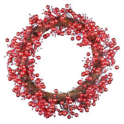 "Pre-Lit LED Berry Wreath - Red Lights (24"")"