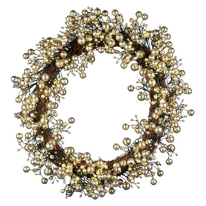 "Pre-Lit LED Decorative Berry Wreath - Gold Lights (24"")"