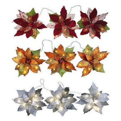 LED 3-Poinsettia Flower Garland Collection
