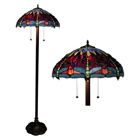 Tiffany Style Dragonfly Floor Lamp - Amber