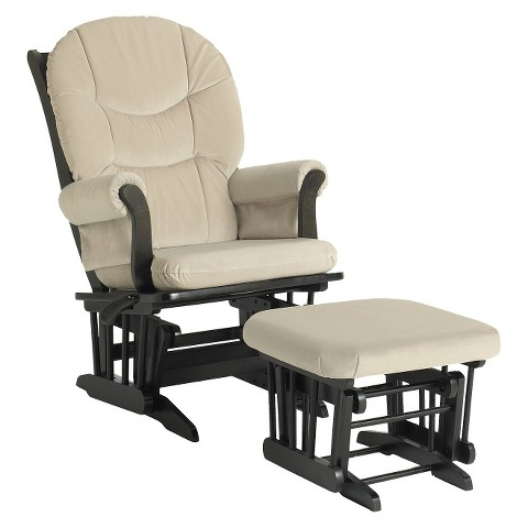 Dutailier Ultramotion Sleigh Glider Multiposition, Recline & Ottoman Combo - Espresso and Beige