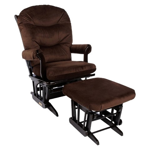 Dutailier Ultramotion Sleigh Glider Multiposition, Recline & Ottoman Combo - Espresso and Brown