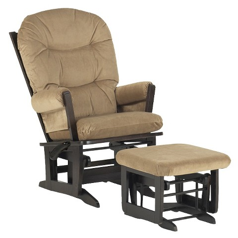 Dutailier Ultramotion Modern Glider Multiposition & Ottoman Combo - Espresso and Lt Brown