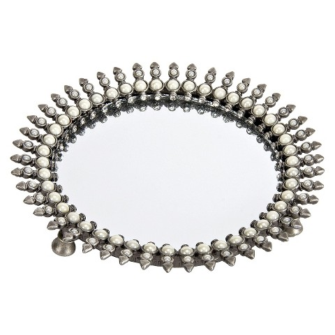 Harry Koenig Round Mirrored Vanity Tray - Silver