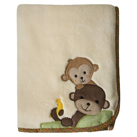 Bedtime Originals Tan,  Brown and Green Curly Tails Blanket