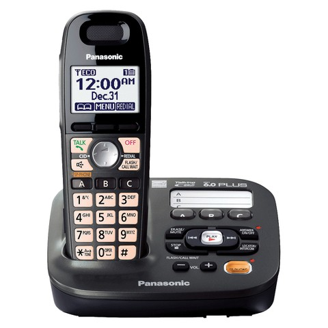 Panasonic DECT 6.0 Plus Cordless Phone System (KX-TG6591T) with Answering Machine, 1 Handset - Black