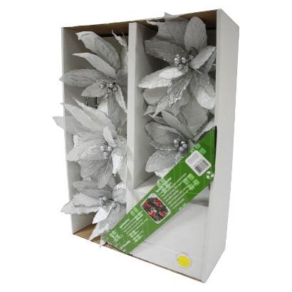 White LED Poinsettia Flower Garland (5-Count)