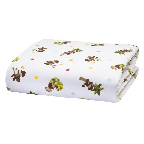 Bedtime Originals Tan,  Brown and Green Curly Tails Sheet
