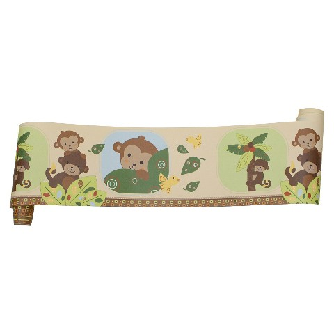Bedtime Originals Tan,  Brown and Green Curly Tails Wallpaper Border