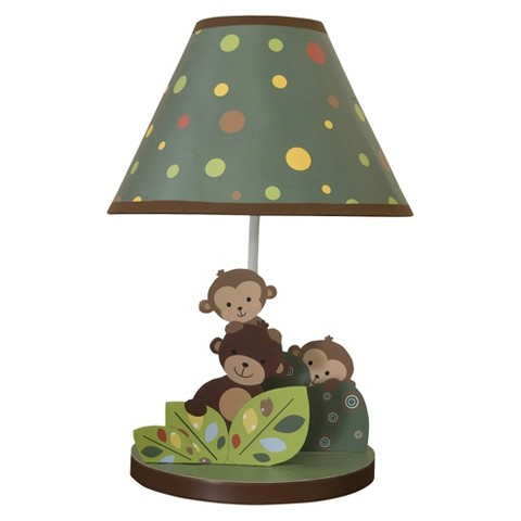 Bedtime Originals Tan,  Brown and Green Curly Tails Lamp w/Shade