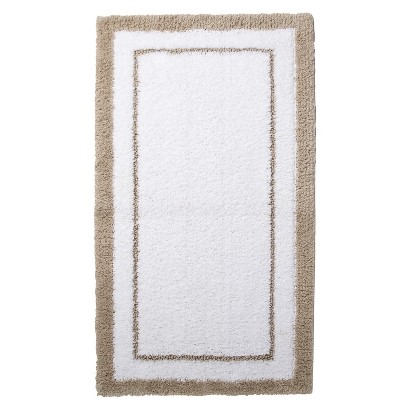 "FIELDCREST® LUXURY BATH RUG - LIGHT TAUPE/TRUE WHITE (19.3X34"")"