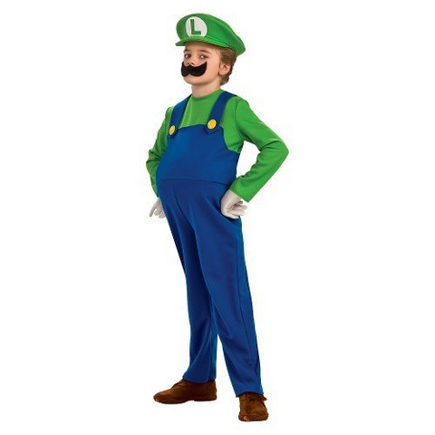 Boy's Deluxe Luigi Costume w/ Inflatable Belly