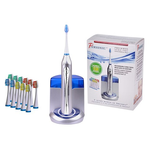 Pursonic Deluxe Plus Toothbrush with 12 Bonus Brush Heads and Built-In UV Sanitizer S450