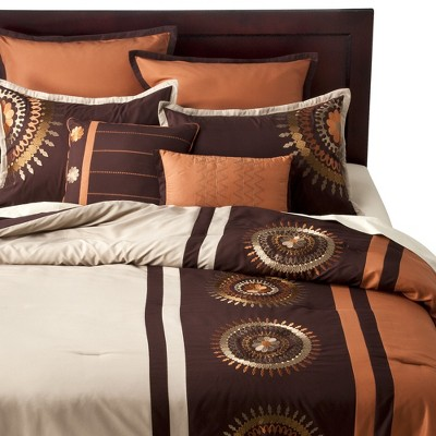 Medallion 8 Piece Bedding Set - Orange (Queen)