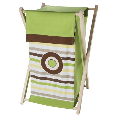 Bacati Green/Yellow/Chocolate Mod Dots/Stripes Hamper