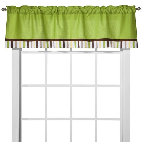 Bacati Green/Yellow/Chocolate Stripes Window Valance