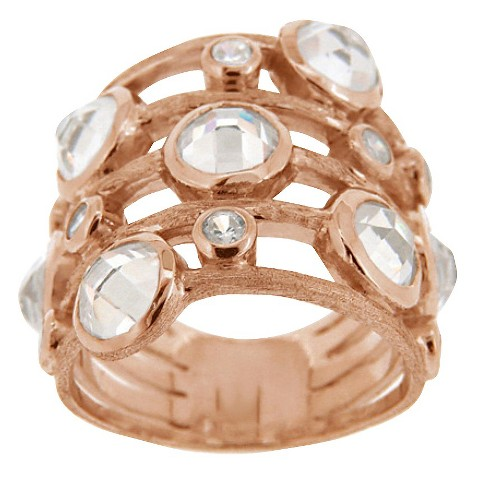 Gold Over Sterling Silver Cubic Zirconia 5 Row Ring - Rose