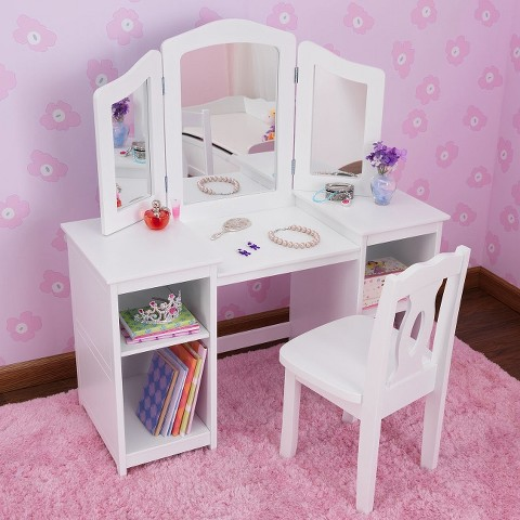 Kidkraft Deluxe Vanity Table with Chair - White