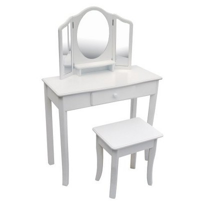 Guidecraft Classic Vanity and Stool - White